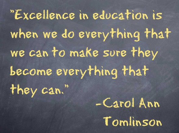 Excellence in education is when we do everything that we can to make sure they become everything that they can. − Carol Ann Tomlinson